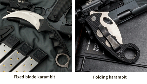 Photos of both a fixed blade and a folding karambit